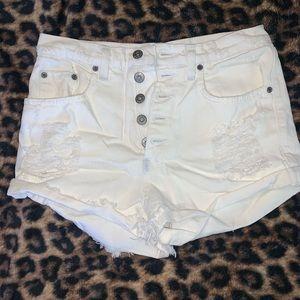 White high-waisted Carmar Jean shorts